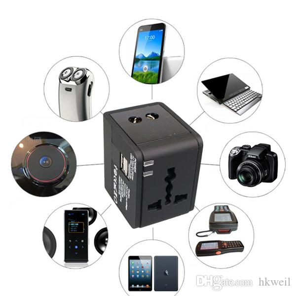 Travel Adapter International 범용 전원 어댑터 2 개의 USB 포트가있는 올인원 ipad iphone 용 UK / EU / AU / Asia 용 전세계 벽면 충전기