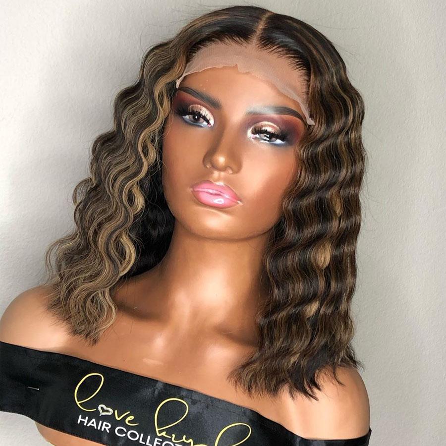 여성 360 정면에 금발 전체 레이스 가발 깊은 웨이브를 강조 짧은 밥은 13x6 레이스 프런트가 인간의 머리 가발 투명 레이스 프런트 가발