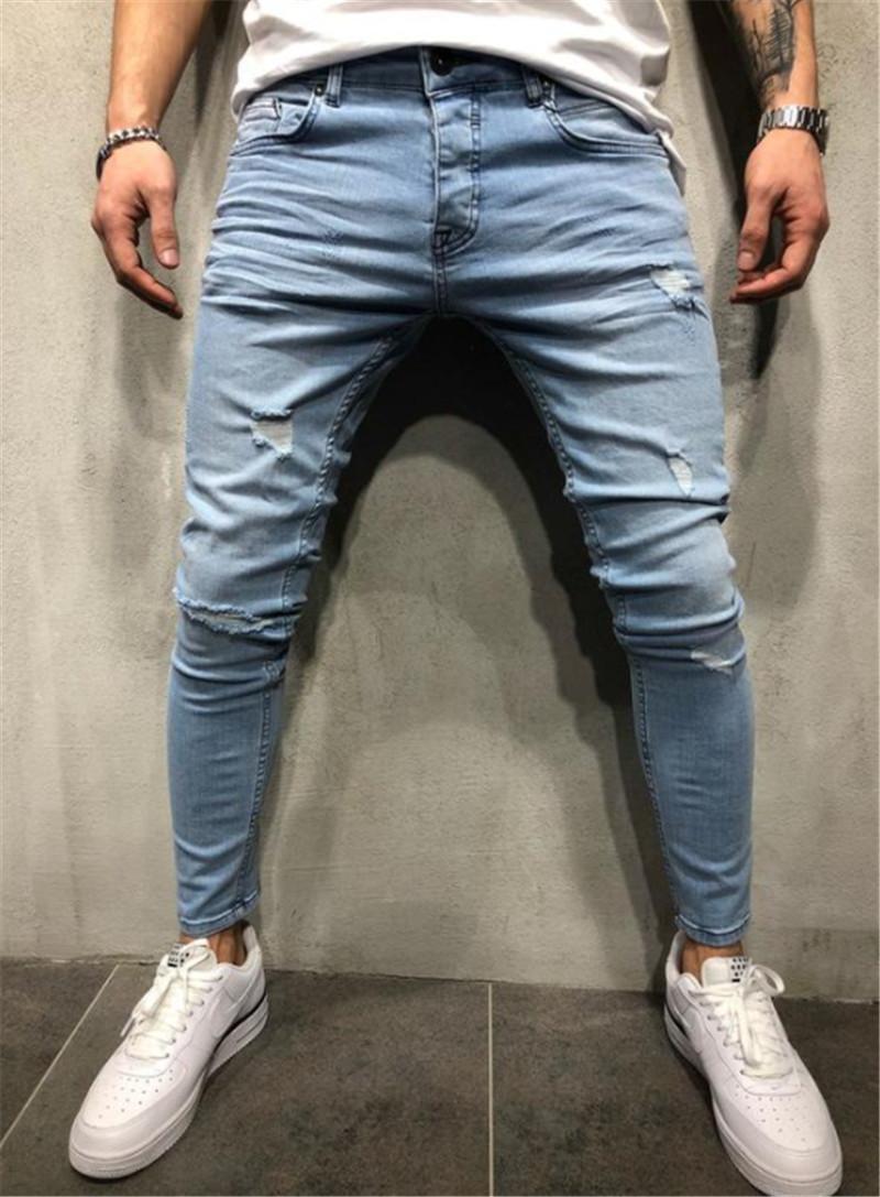 Uomo sportivo Fit Biker jeans del denim Pantaloni Hole Rose ricamo lunghi scarni sottili Jeans S-3XL