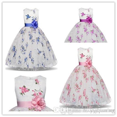 Fancy Girls Dress Flower Girls Party Ball Gowns Summer Tutu Girls Birthday Outfits Kids Wedding Ceremonies Gown Children Infant Clothing 8T