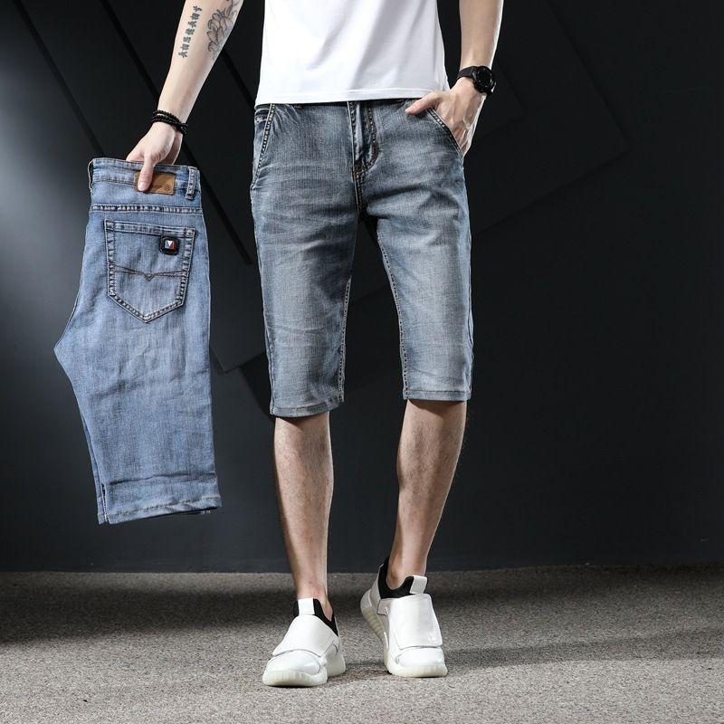 Verano de mezclilla delgada de los hombres delgados pantalones cortos de estiramiento 2020 Nuevo y pantalones cortos y pantalones vaqueros lavados rectos de los hombres