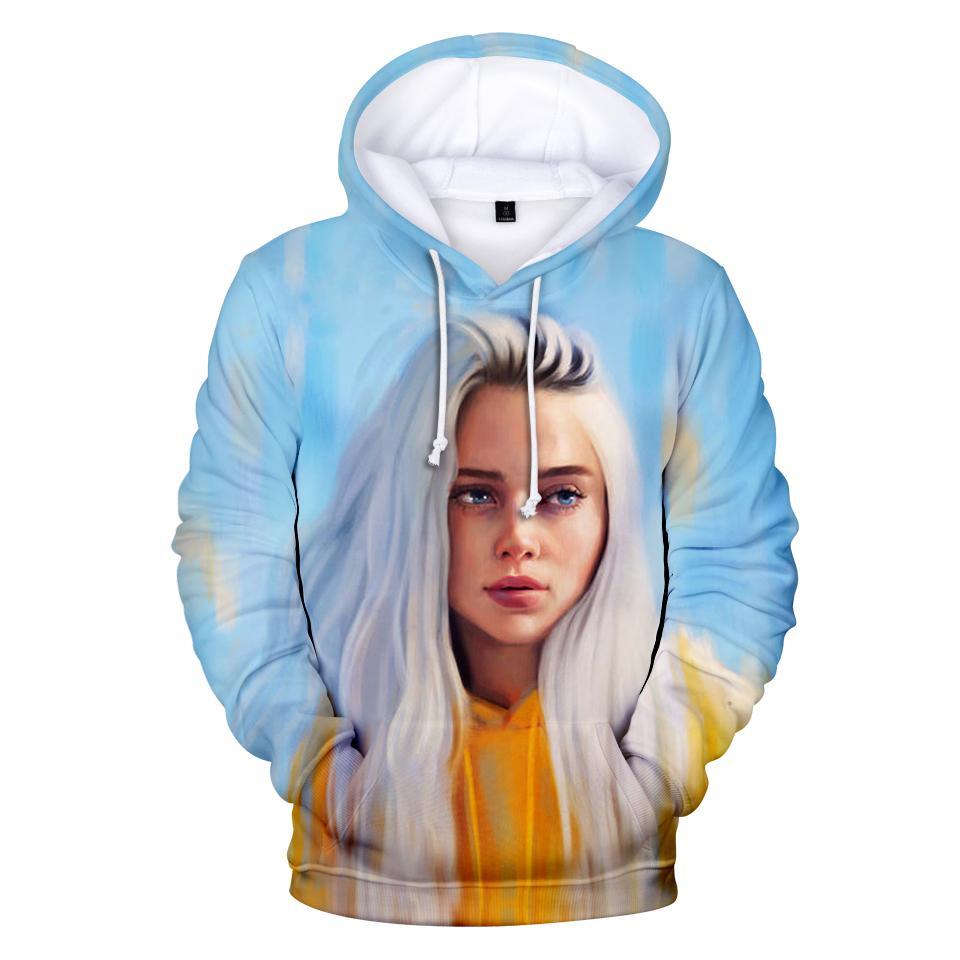 Новые мужские Толстовки 3D Billie Eilish Hoodie Толстовки Hip Hop Streetwear Harajuku с длинными рукавами с капюшоном Пуловеры Street Wear