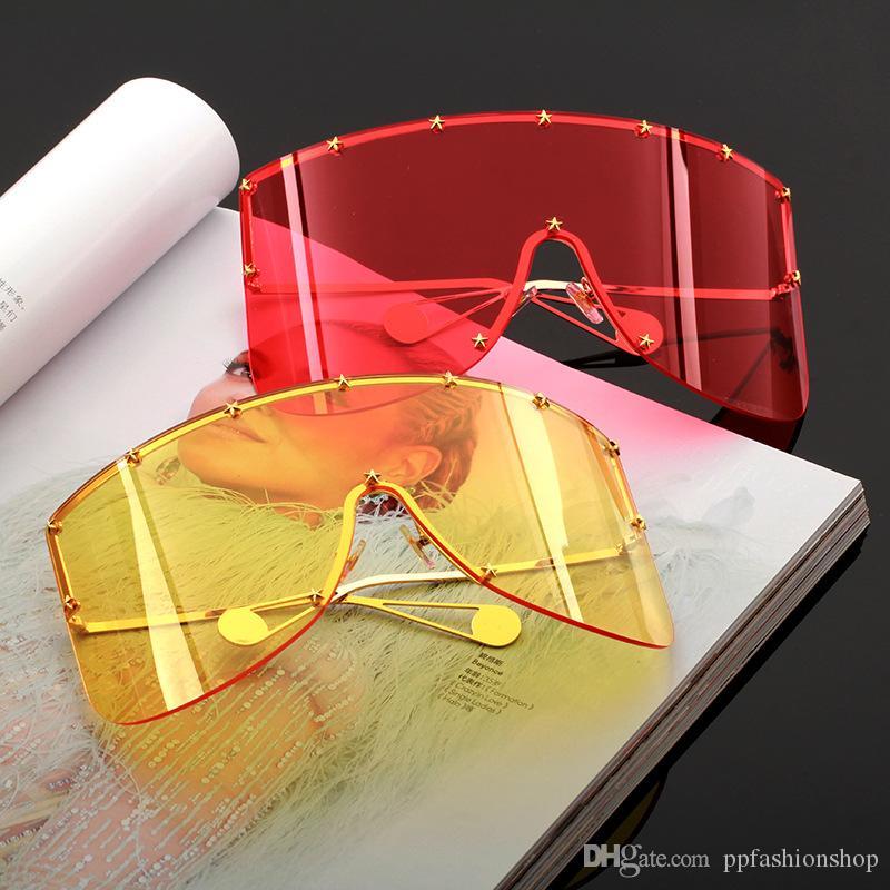 Big Frame Lente integrada Tendencia Máscara Gafas de sol Nueva moda A prueba de viento Máscara de metal Sin marco Gafas de sol Sin marco