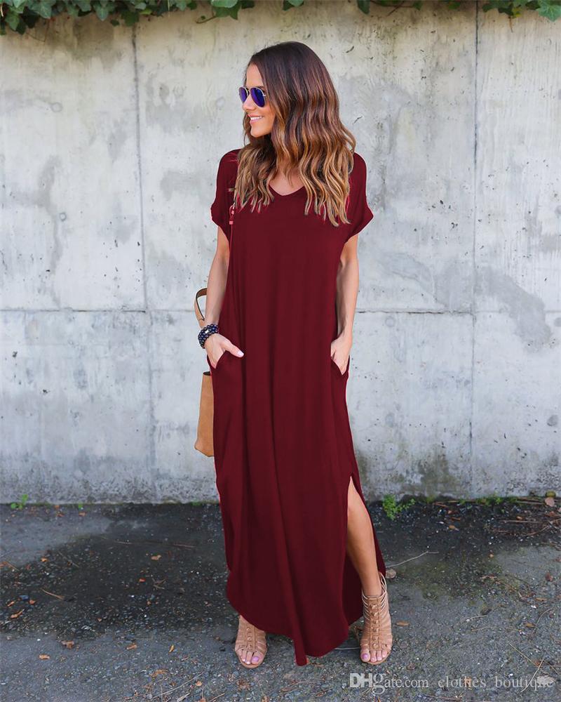 المرأة كم قصير فضفاض عادي فساتين ماكسي عارضة فساتين طويلة مع جيوب 9Colors