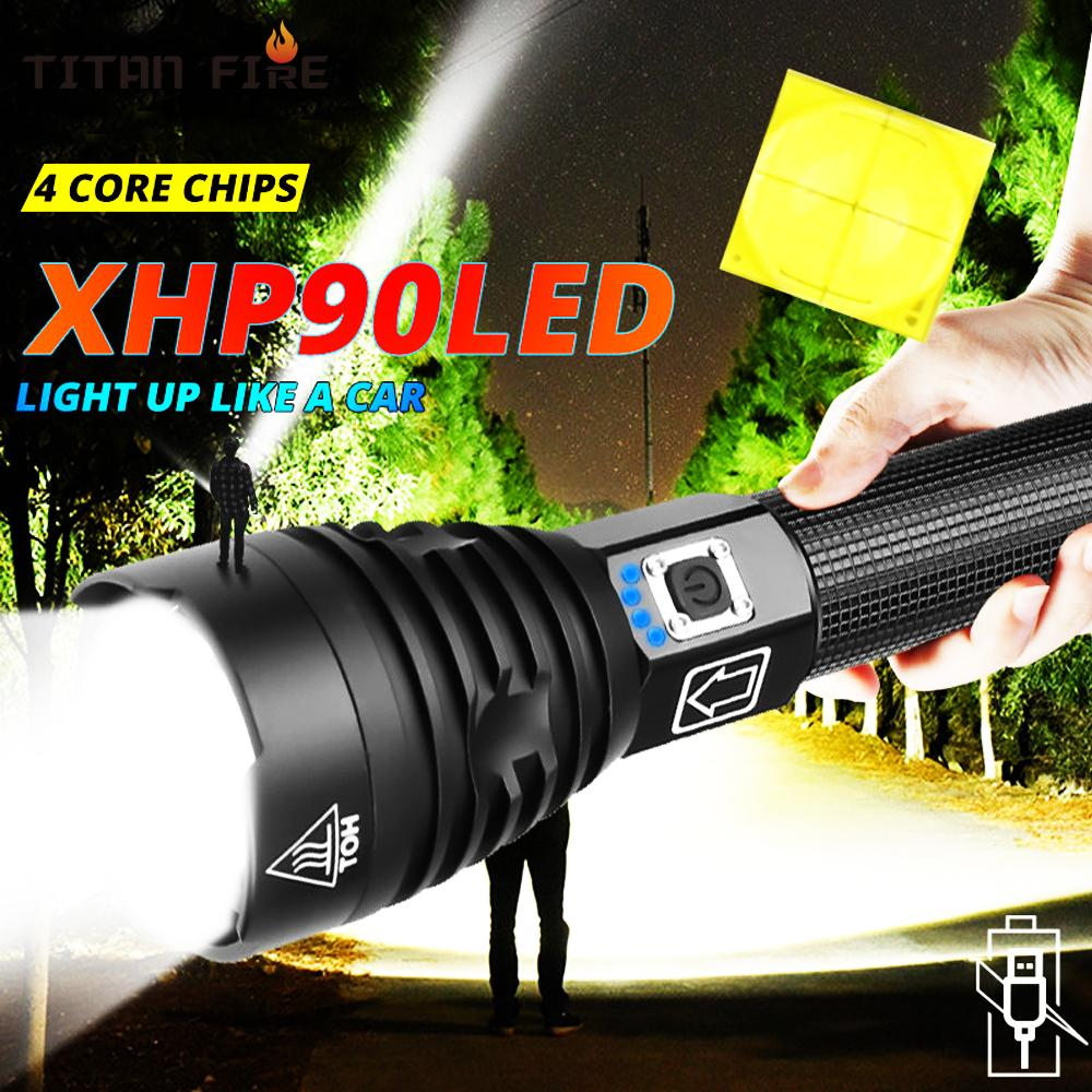 Torcia XHP90 LED LED Torcia LED USB Potente lampada zoom ricaricabile Torcia tattica 18650 26650 Super Battey UFTNM