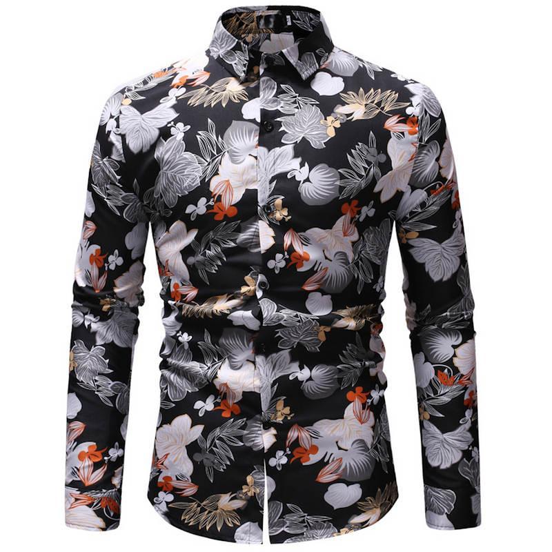 Camisa hawaiana de playa de verano para hombres marca 2019 de manga larga tallas grandes y color camisa casual para hombre vestido de centro turístico Camisas 23 color