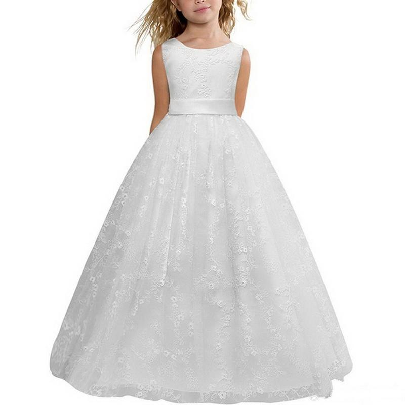 2020 Cheap In Stock White Ball Gown Princess Flower Girl Dresses Pageant Gowns For Little Girls Jewel Sleeveless Ankle Length Dresses