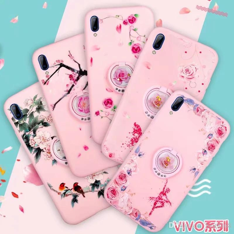 Blüten weiche TPU Fall für Iphone 11 Pro Max XR XS MAX X 7 6 Metallfinger-Ring-Halter Rose Mädchen-Schmetterlings-Bling Diamant-Halter-Abdeckung