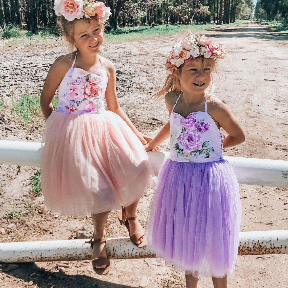 Sommer-Kleinkind-Baby-Mädchen-Kleider Prinzessin Geburtstag Hochzeit Chiffon Kinder Kleider für Mädchen Mode Strand Infant Sundress