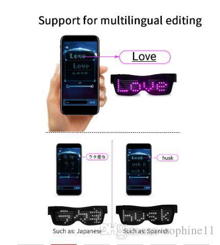 السحر بلوتوث بقيادة حزب نظارات APP تحكم درع مضيئة نظارات USB المسؤول DIY التطبيقات تحكم متعدد اللغات فلاش سريعة بقيادة