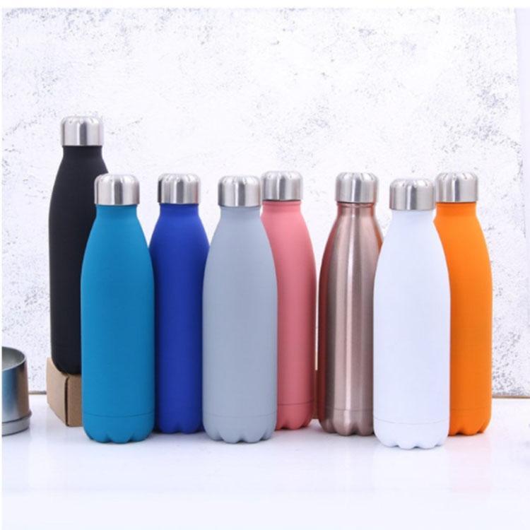 كولا شكل زجاجة ماء الفولاذ المقاوم للصدأ 500 ملليلتر الرياضة فراغ قوارير ترمسيات السفر زجاجات مزدوجة الجدران فراغ زجاجة المياه المعزولة