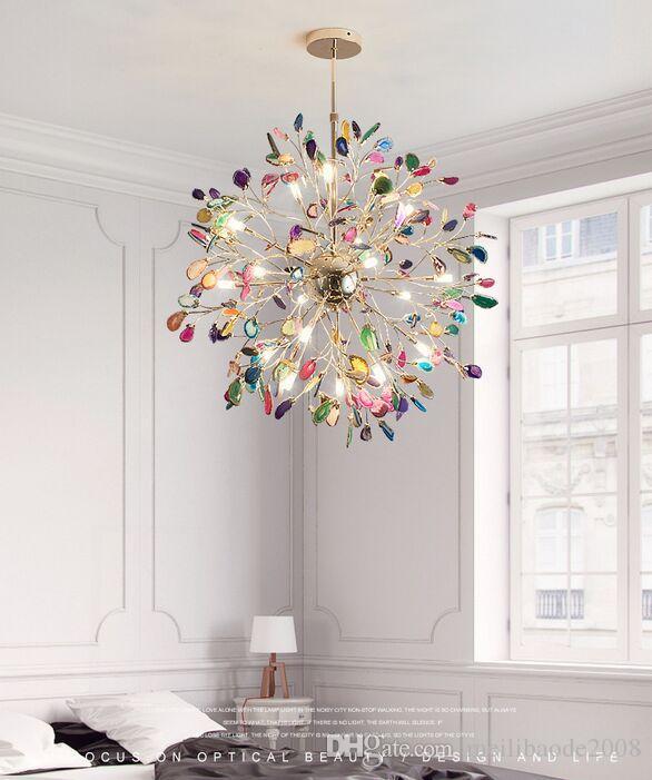 Globo LED Cristal Lámpara de araña Azul / Verde / Púrpura / Pink Ajarzas Lámparas Colgantes Luces para Villas Sala de estar Dormitorio Comedor Cocina Restaurante