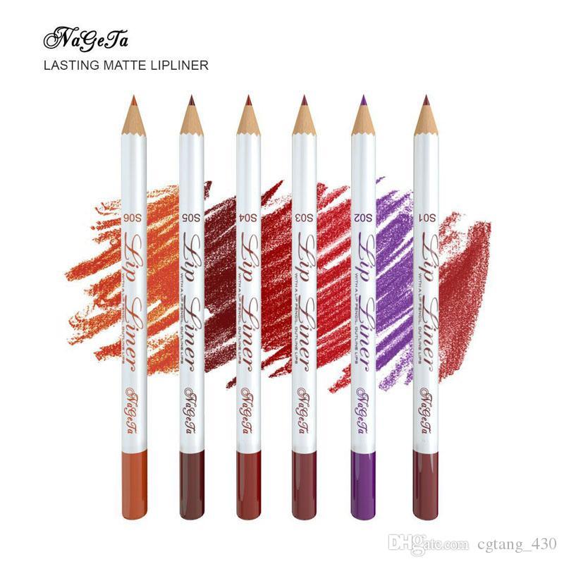 Lápiz lápiz lápiz nageta 6 color mate labios labio soleado soltero duradera madera impermeable fácil color lápiz labial pluma envío gratis