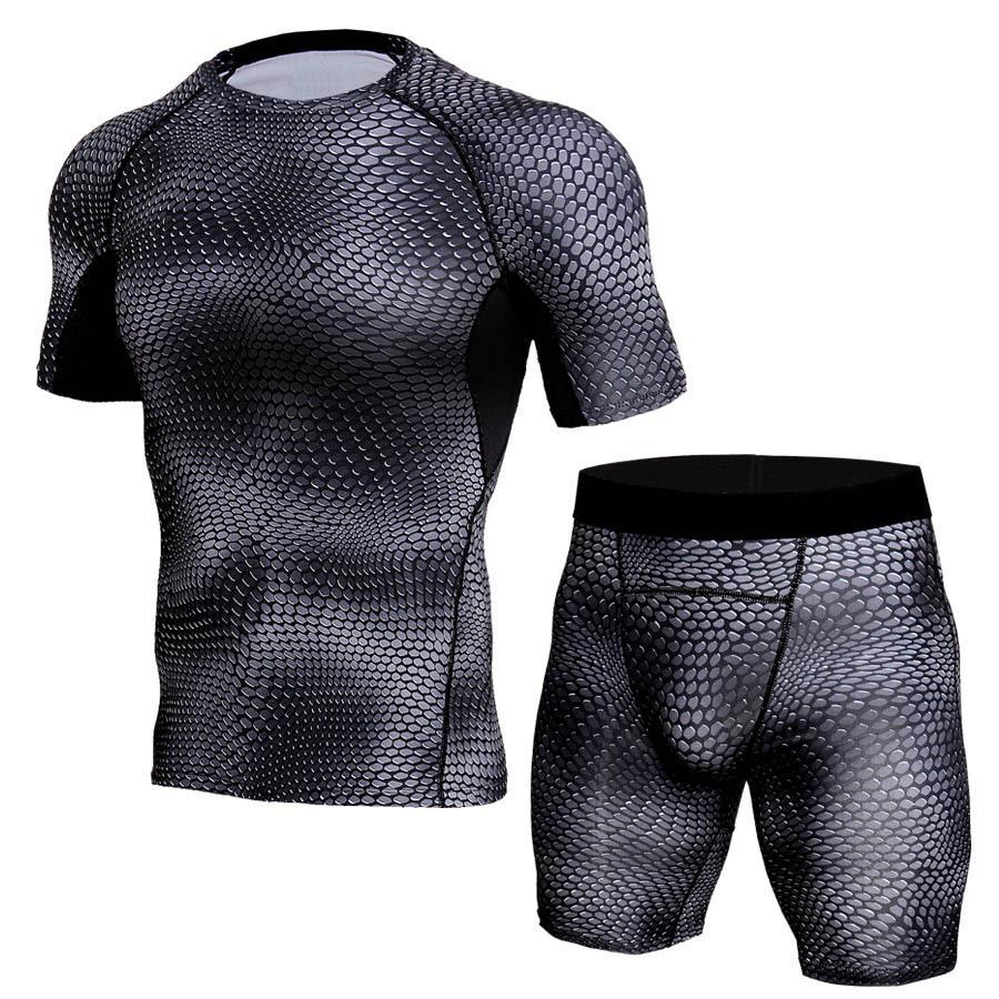Cheap 2 Pieces Short Sleeves Thermal Underwear Men Sport Compression Set for Training Running Clothing Quick Dry Gym Suits