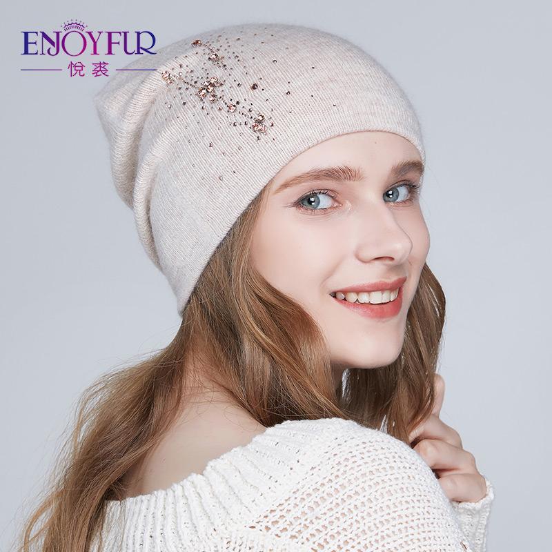 ENJOYFUR женщины зимние шапки вязаные ангорская шерсть шляпа 2018 Мода новое прибытие стразы шапочки для леди S18120302