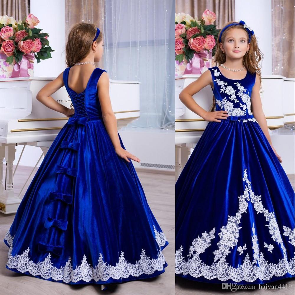 New Royal Blue Princess Girls Pageant Dresses Velvet Jewel Neck Ball Gown White Lace Appliques Bow Cheap Kids Wedding Flower Girls Dresses