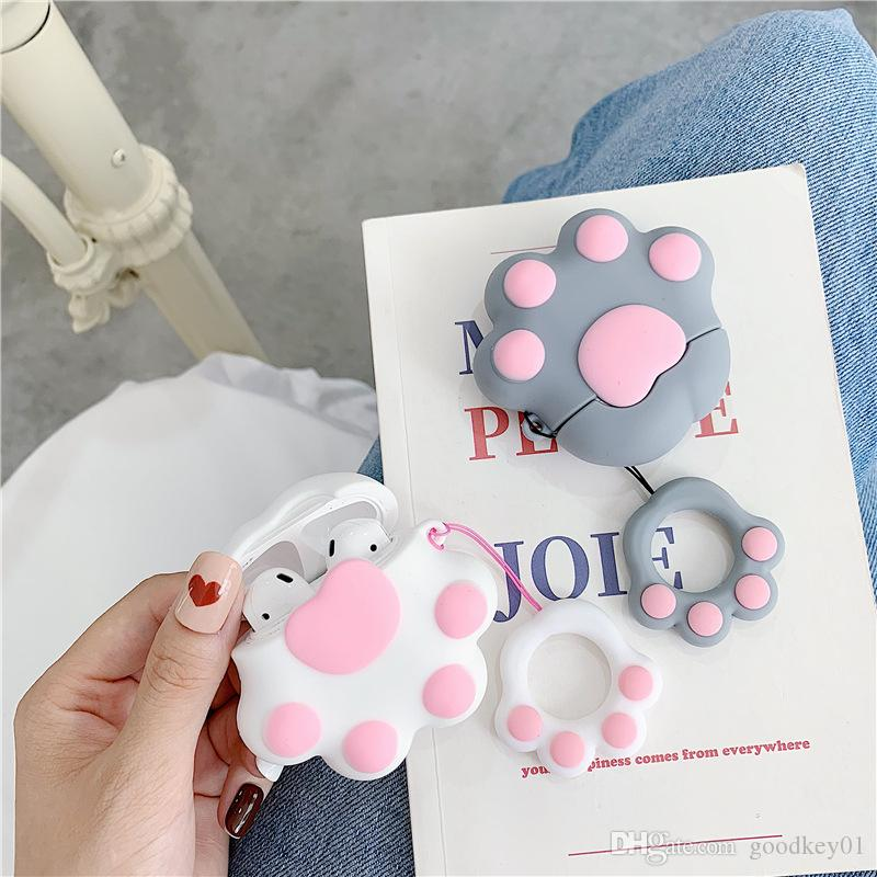For Airpods 2 Cute Earphone Case Bluetooth Funny 3D Cat claw Cover For Apple Air pods 2 Protective case Earpods Headset Bag