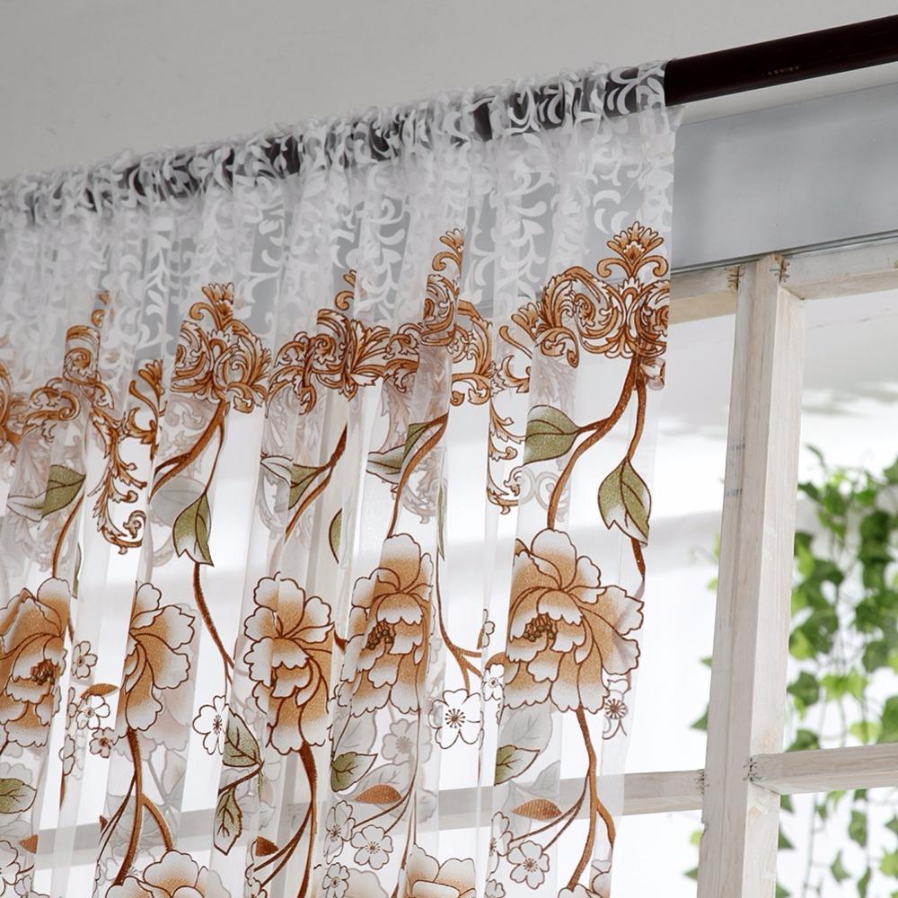 Cortina Da Janela Do Escritório Home Flor Divisor De Impressão Tule Voile Drape Painel Sheer Cachecol Valências Cortinas Decoração Da Sua Casa