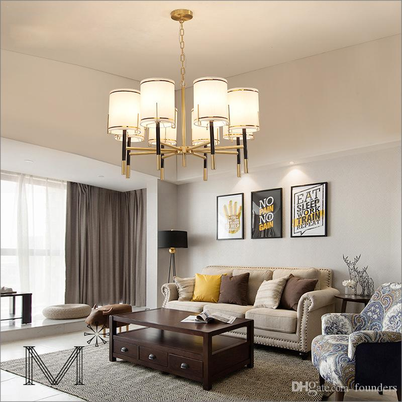 Mediterranean Style Living Room Chandelier American Country Restaurant  Master Bedroom Study Room Cloth Lampshade Pendant Lamps Lamp Hanging  Designer ...