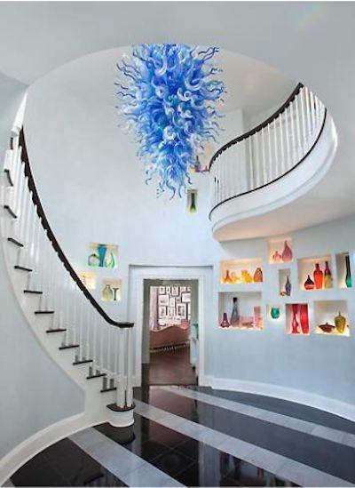 Популярные сине-белые современные подвесные светильники Светодиодные источники света Дейл Chihuby стекло свадебные потолочные светильники