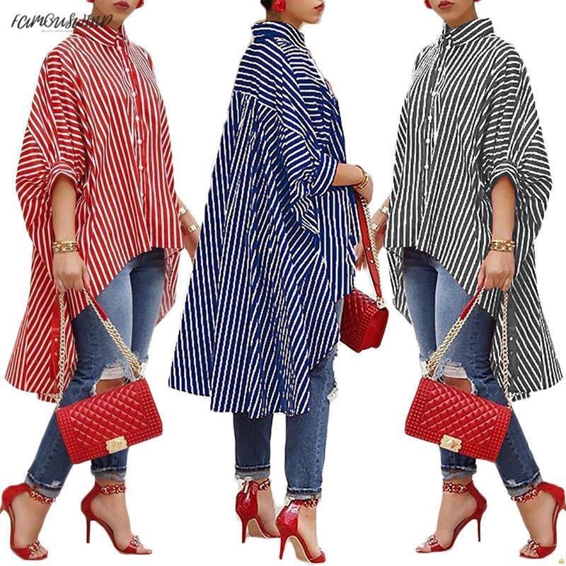 소매 반 새로운 착용 패션 여성 여성 긴 소매 캐주얼 느슨한 블라우스 스트라이프 인쇄 불규칙한 캐주얼 거리 옷 셔츠