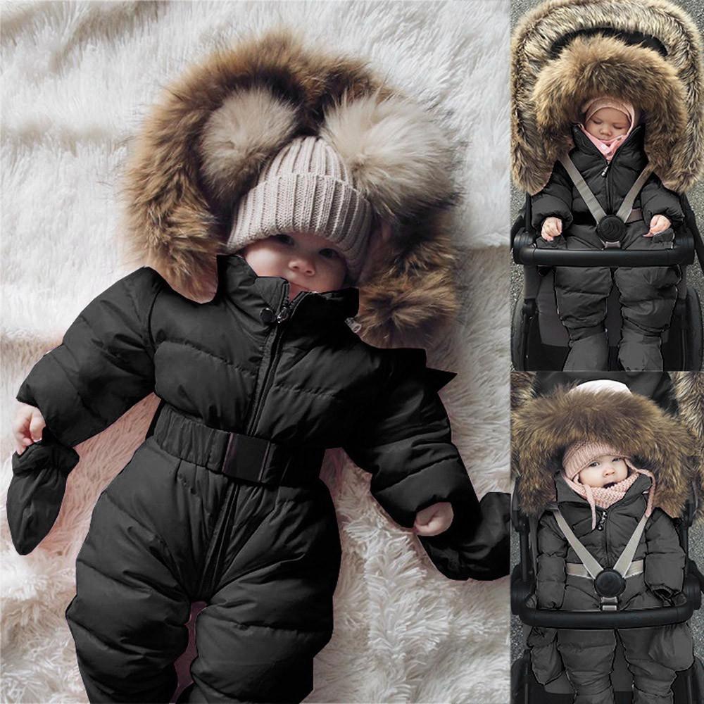 CHAMSGEND Veste d'hiver vêtement bébé bébé fille Vêtements Romper Veste à capuche Jumpsuit chaud épais manteau Outfit 19June10