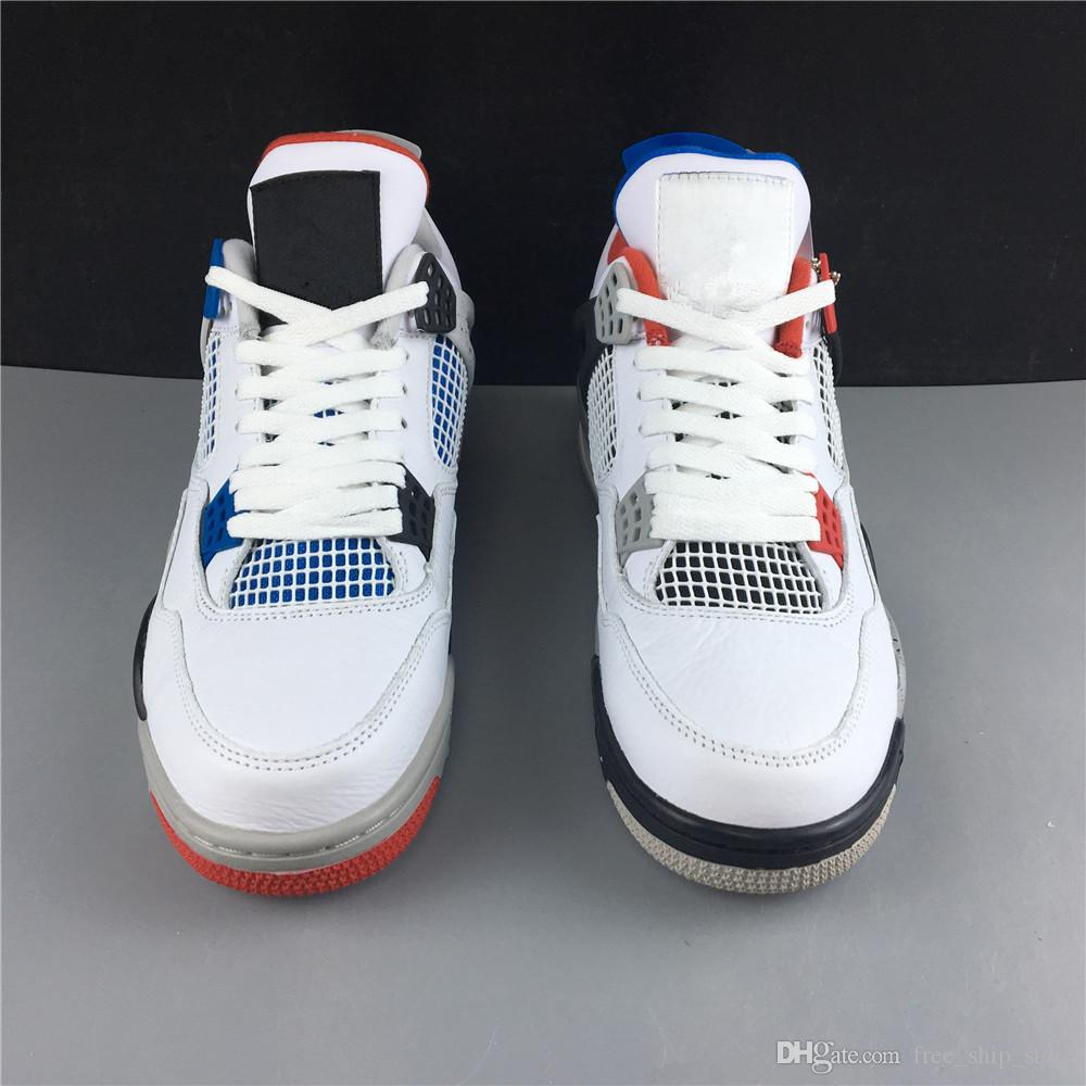 Toptan Yeni kırmızı mavi beyaz IV 4 s erkekler basketbol ayakkabı açık eğitmenler en kaliteli ücretsiz kargo boyutu 7.5-13