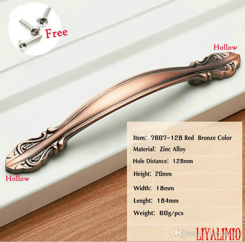 7607-128 Red Copper Door Handles Wardrobe Drawer Pulls Kitchen Cabinet Knobs and Handles Fittings for Furniture Handles European Style