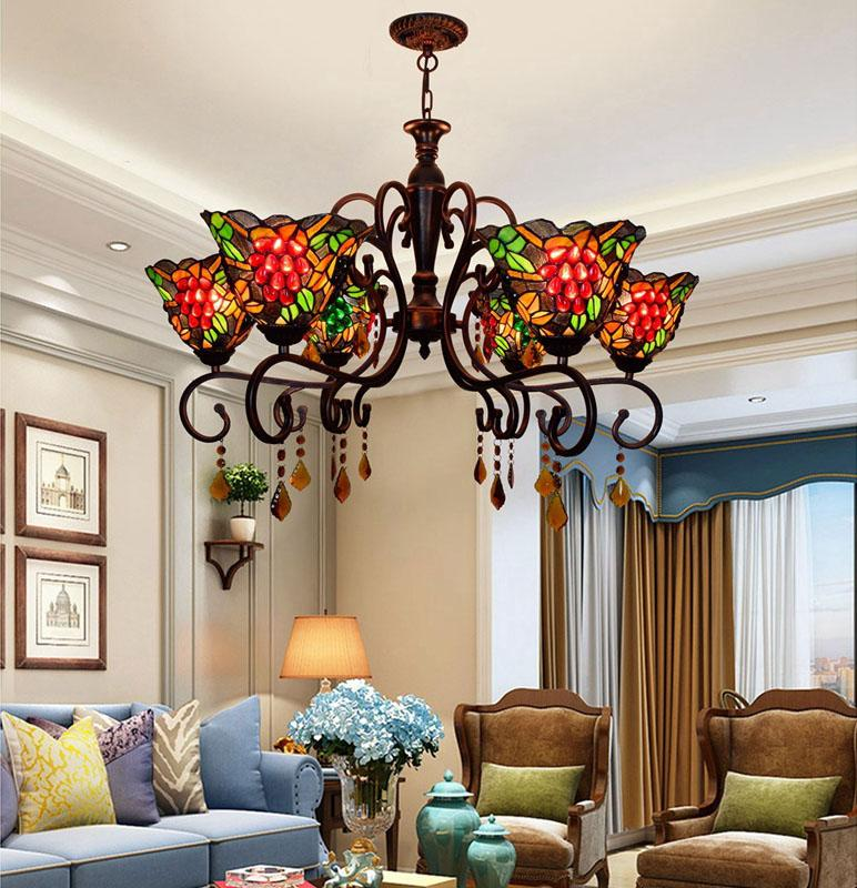 Palace style chandelier lighting 2020 UPS Quick Arrival Led large living room lighting crystal pendant stained glass modern decoration lamp