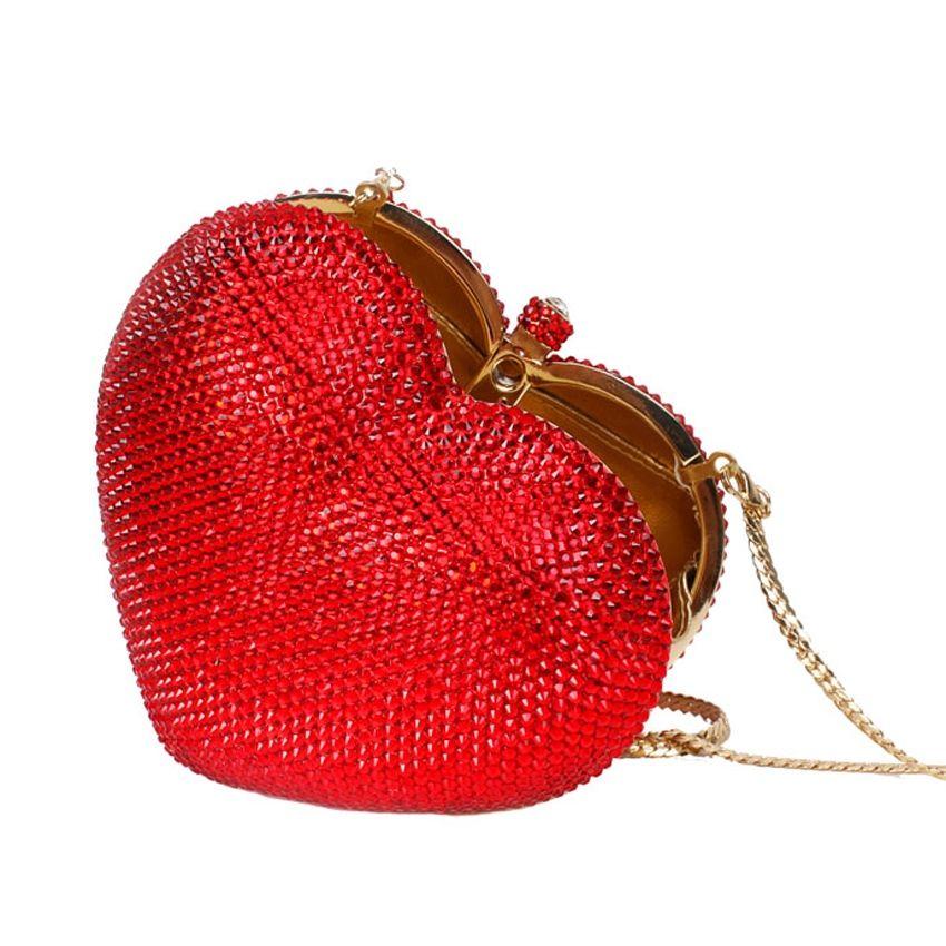 Red heart shape crystal clutch bag Rhinestone evening bag metal Ladies party purse Heart shaped diamond Ladies Wedding Bag 88167 #744122