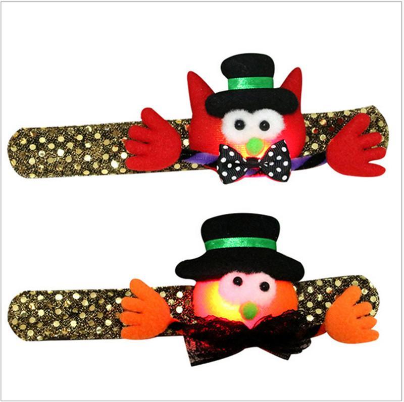 Kids Led Colored Luminous Hand Decor Halloween Toy Cartoon Pumpkin Flashing Wristband Child Sequins Bracelet Light Strap Handcuffs B72701