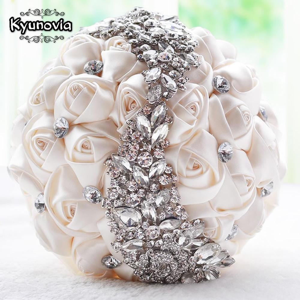 Kyunovia Crystal Wedding Bouquet Red Brooch Bouquet Wedding Accessories Bridesmaid Artifical Flowers Bridal Bouquets FE8