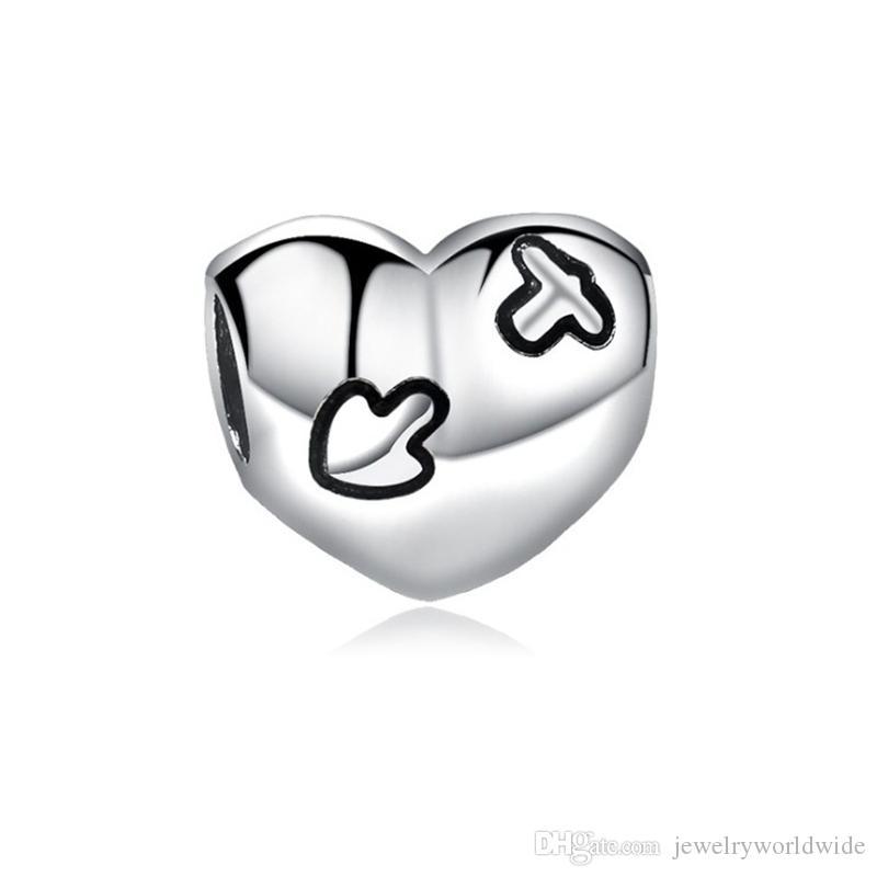 Elegante cuore in lega di fascino perline moda donna gioielli Stunning design stile europeo per la collana del braccialetto fai da te Panza004-51