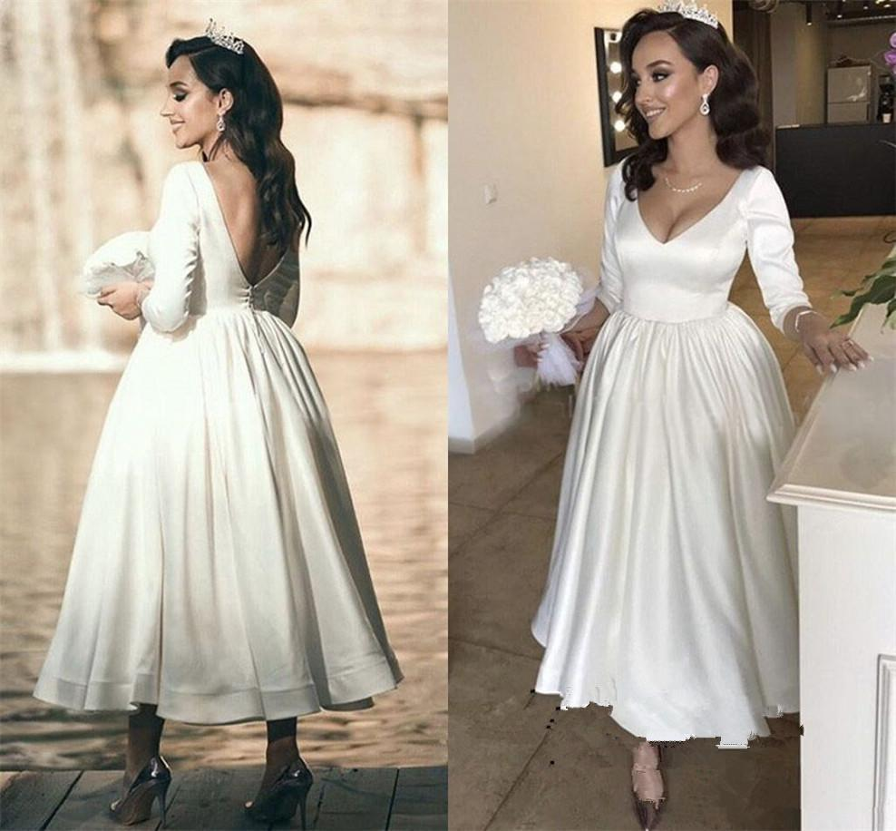 discount vintage tea length 1920s' wedding dresses 2020 modern long sleeve  v neck simple stain backless bride wedding gown robe de mariee a line