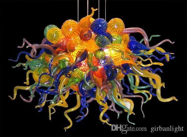 Gestaltete handgemachte geblasene Glaslampe Multicolor Kronleuchter LED-Zwiebeln Moderne Kunst Dekor Murano Pendelleuchten Stil Decken Kronleuchter
