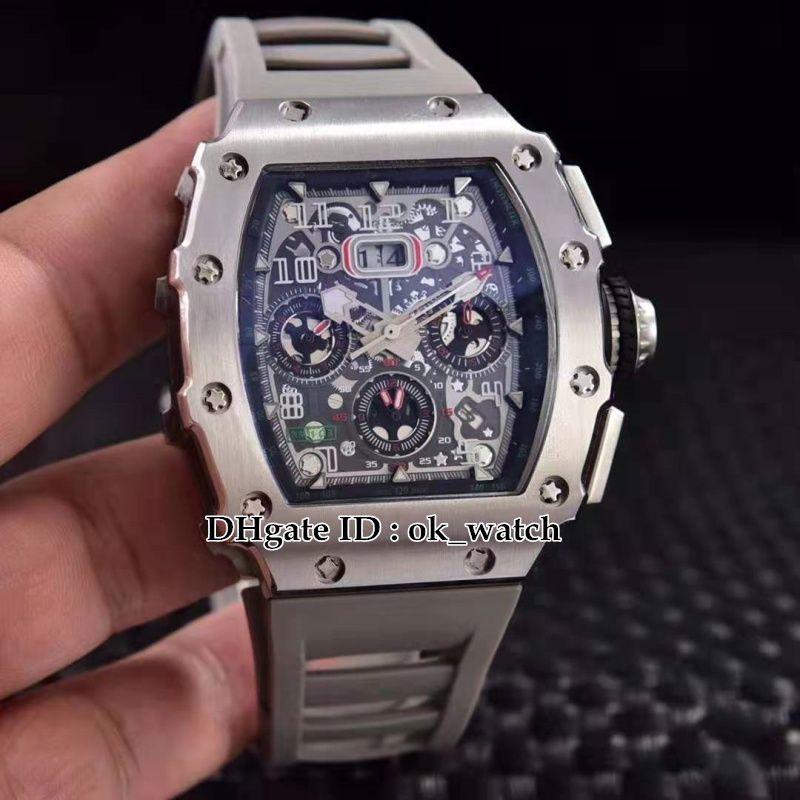 Caixa de aço de alta qualidade 904L 11-03 Flyback Chrono Skeleton Dial Miyota Mens Automatic Watch cinza pulseira de borracha esporte relógios 12 cores