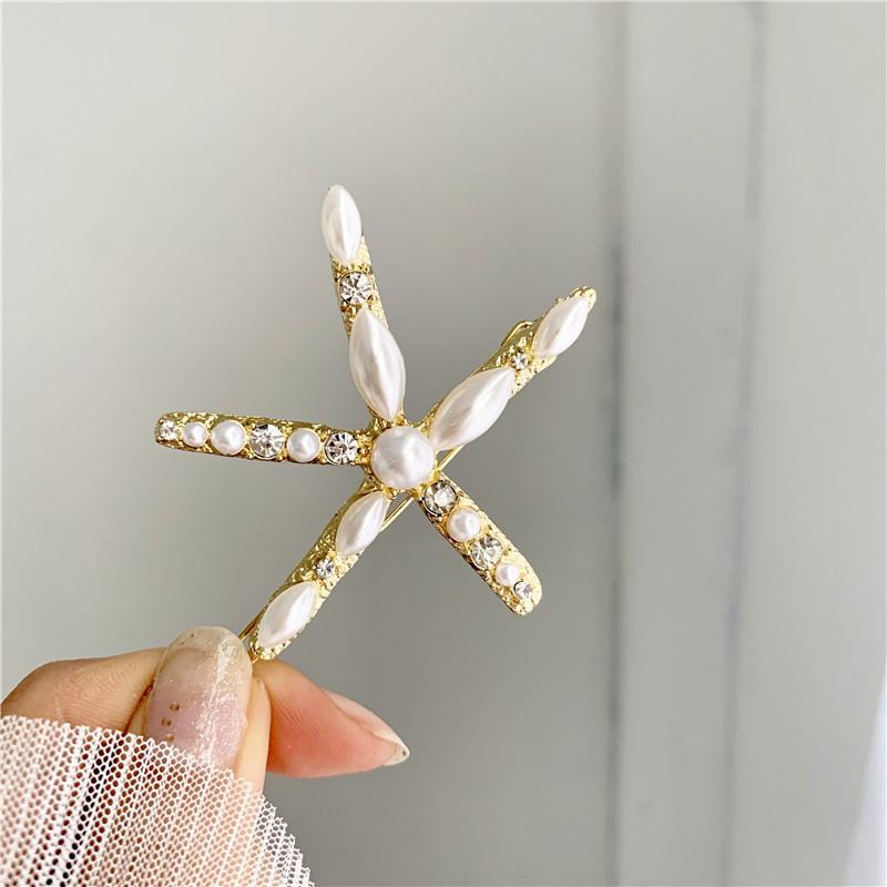 Korean East Gate elegant simple pearl fairy starfish frog clip all-match female hairpin 868