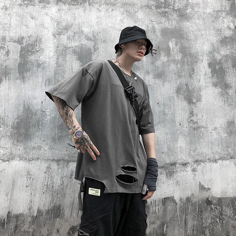 Manicotto parti superiori di estate Mens camicie Fori T del progettista del Mens maglietta Via Hiphop Style strappo corte donna
