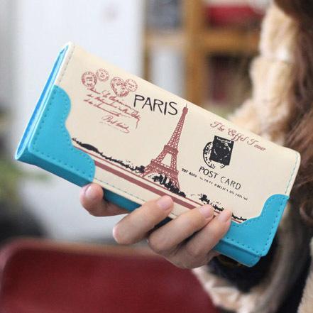 Designer-Damen Geldbörsen Handtaschen Marke Geldbörse Eiffelturm Muster Geldbeutel Dame Geldbörsen Mädchen Lange Kupplung Brieftasche Karten Id Halter Tasche