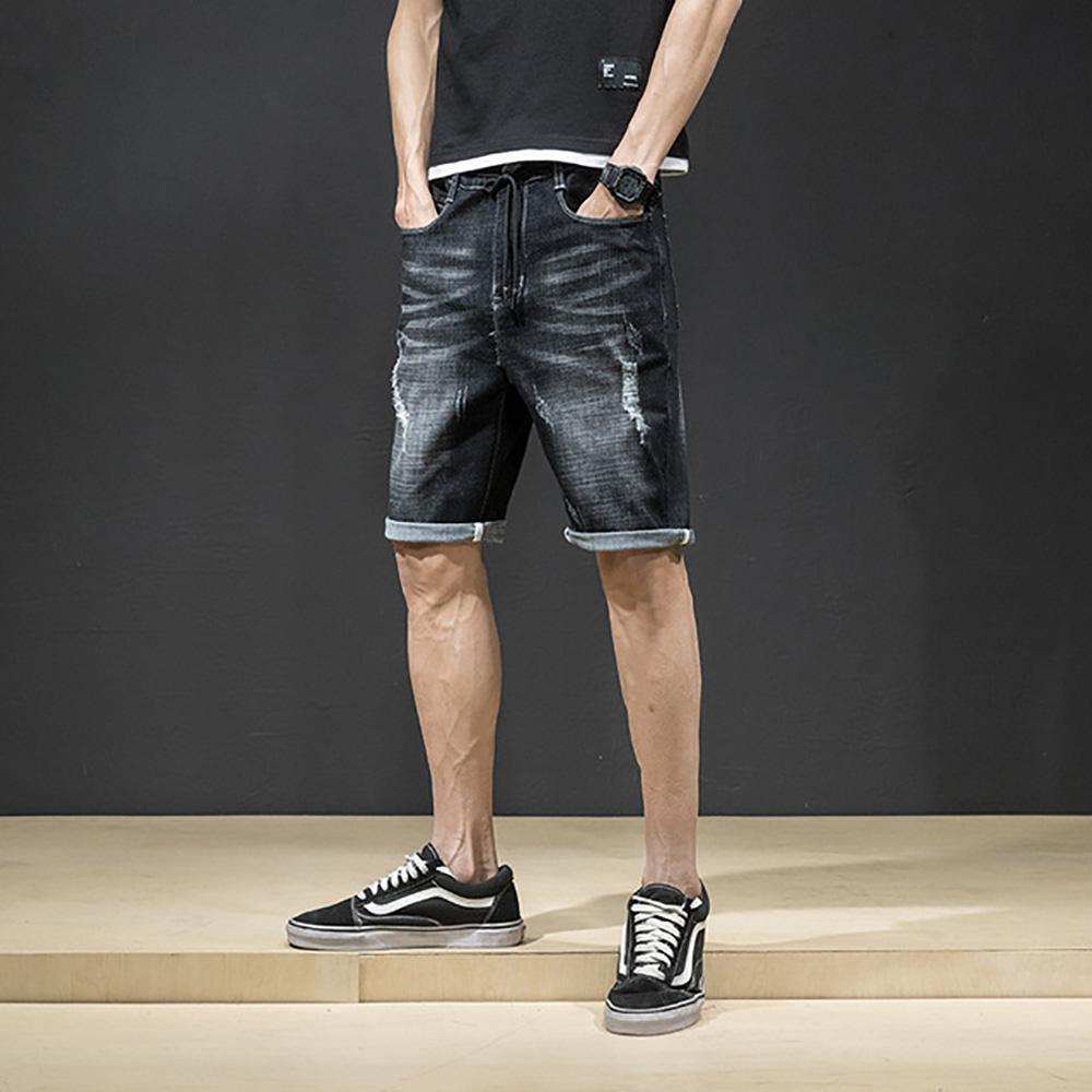 Pantaloncini di jeans strappati da uomo di AudWhale a vita alta Jeans dritti da uomo bicchierini da uomo casual da uomo