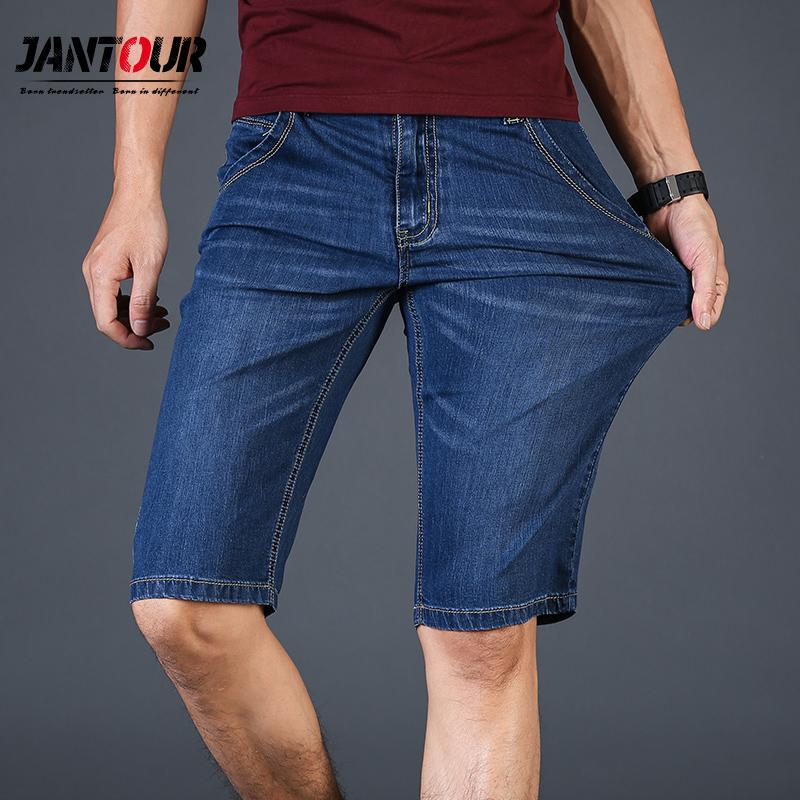 Brand Shorts Men Casual Denim Short Mens Solid Slim-Fit Men's Shorts Blue Short Jeans Summer Men's Clothing Plus size40 42 44 46