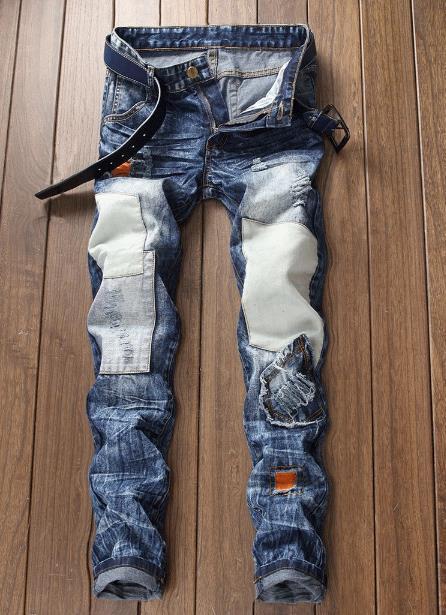 Erkekler Casual Patchwork Moda İnce takılması Streetwear Hip Hop Skinny Demin Pantolon Plus Boyutlar ile Renkli Jeans Yıkanmış