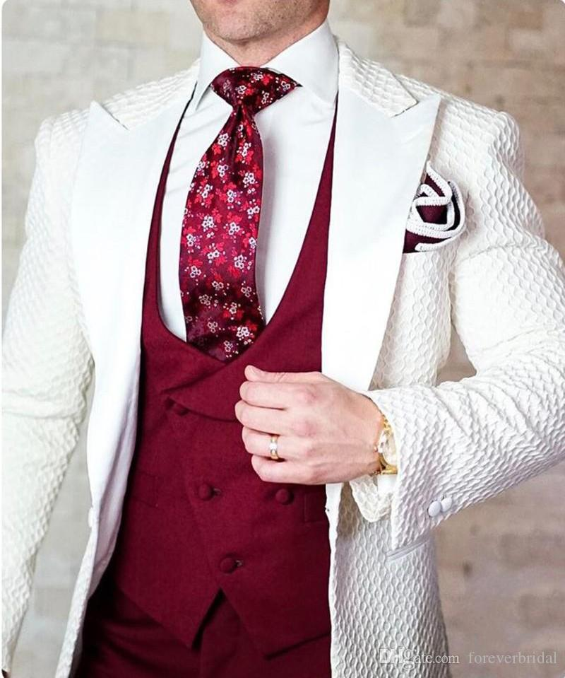 Fashion Floral Pattern Wedding Suits For Men Good Quality One Buttons Men Suits 2 pieces (Jacket+Pant) Business Tuxedos