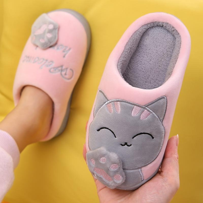Kids Baby Boy Girls Winter Slippers Cute Cartoon Cat Non-slip Home Indoors Shoes