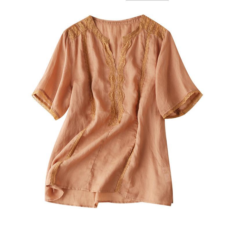 Camisas para mujeres de verano ramio V-cuello del remiendo del cordón y blusas de verano tapas para las mujeres 2020 Cosas de la Mujer de la