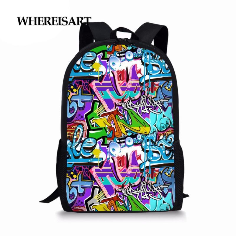WHEREISART Kawaii Sacs Graffiti école pour filles Adolescent primaire Enfants Cartable enfants Cartable Élève Bagpack garçons