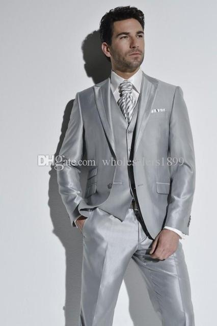 Новый популярный серебристо-серый Шафер жених свадебное платье, отличные мужчины деловой активности костюм партии выпускного вечера костюм (куртка+брюки+жилет+галстук)нет:394