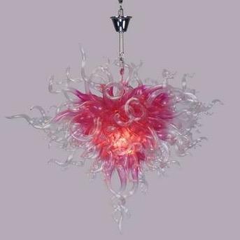 Lambalar Romantik Pembe Zincir Avizeler Ev Düğün Dekorasyon Tarzı El Led Ampuller Ile El Üflemeli Cam Kristal Avize