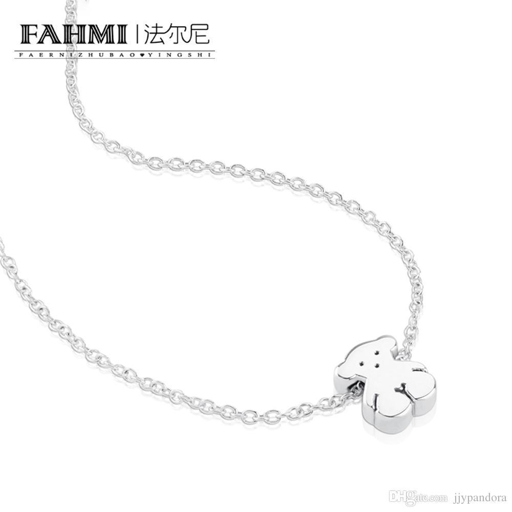 FAHMI 100% Стерлингового Серебра 925 015904510 Милый Медведь Простые Ювелирные Изделия Тонкий И Нежный Ожерелье Оригинальные женские Ювелирные Изделия