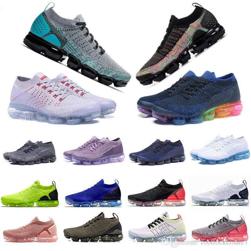 Hava yastığı 1.0 Fly 2.0 3.0 Koşu Ayakkabı Betrue Siyah Gökkuşağı Tozlu Cactus Hiper Jade Asfalt Saf Platin erkek eğitmenler spor ayakkabıları Örgü